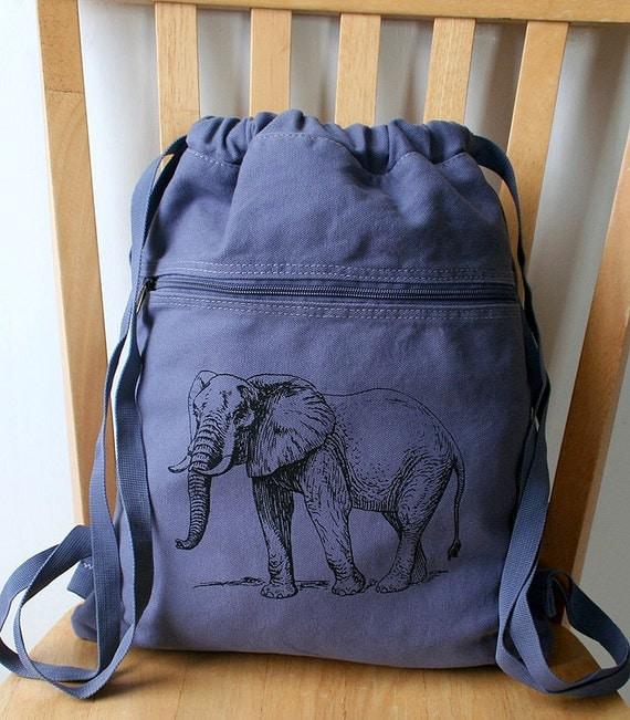 elephant backpack canvas book bag laptop bag by