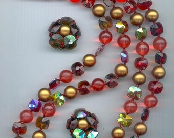 Gorgeous 2-strand vintage Marvella necklace and earring set with amazing beads in saffron, red, and matte gold