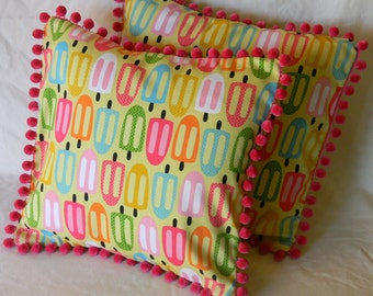Popsicle Pom Pillow Cover, Summer, Retro, Magenta, 16x16