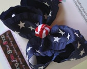 Navy Ruffle Bow -- Navy ruffle with stars bow -- July 4th and Summer -- red, white and blue