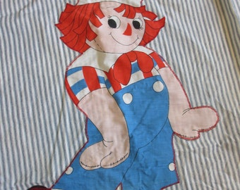 Vintage Raggedy Andy Pillow Panel Fabric