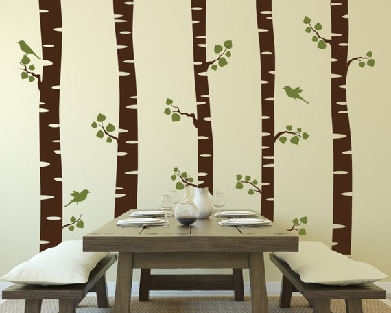 Tree Wall Decals Vinyl Tree Wall Decal Forest with Flying Birds Wall Stickers