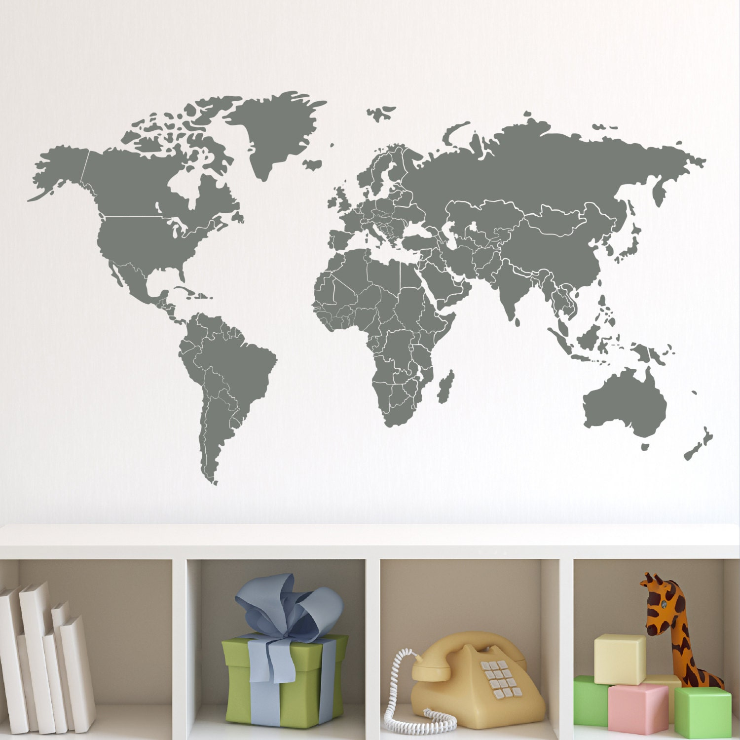 Wall Decor Stickers World Map : World map with countries borders wall decal by zapoart on etsy