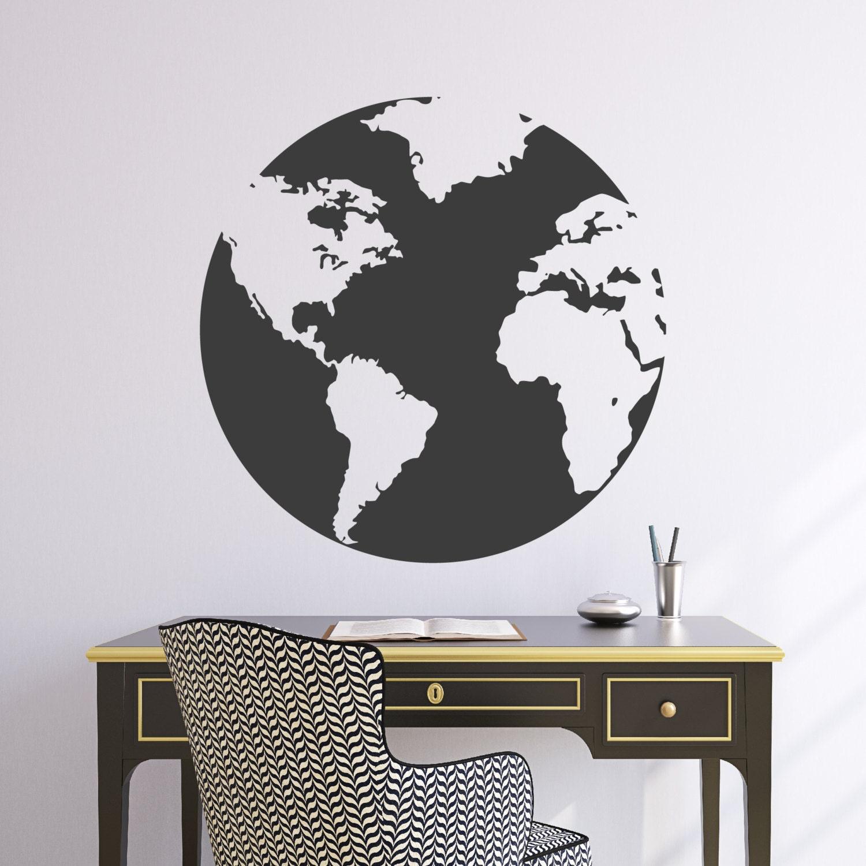 Wall decal 22w globe world map wall vinyl sticker zoom amipublicfo Gallery