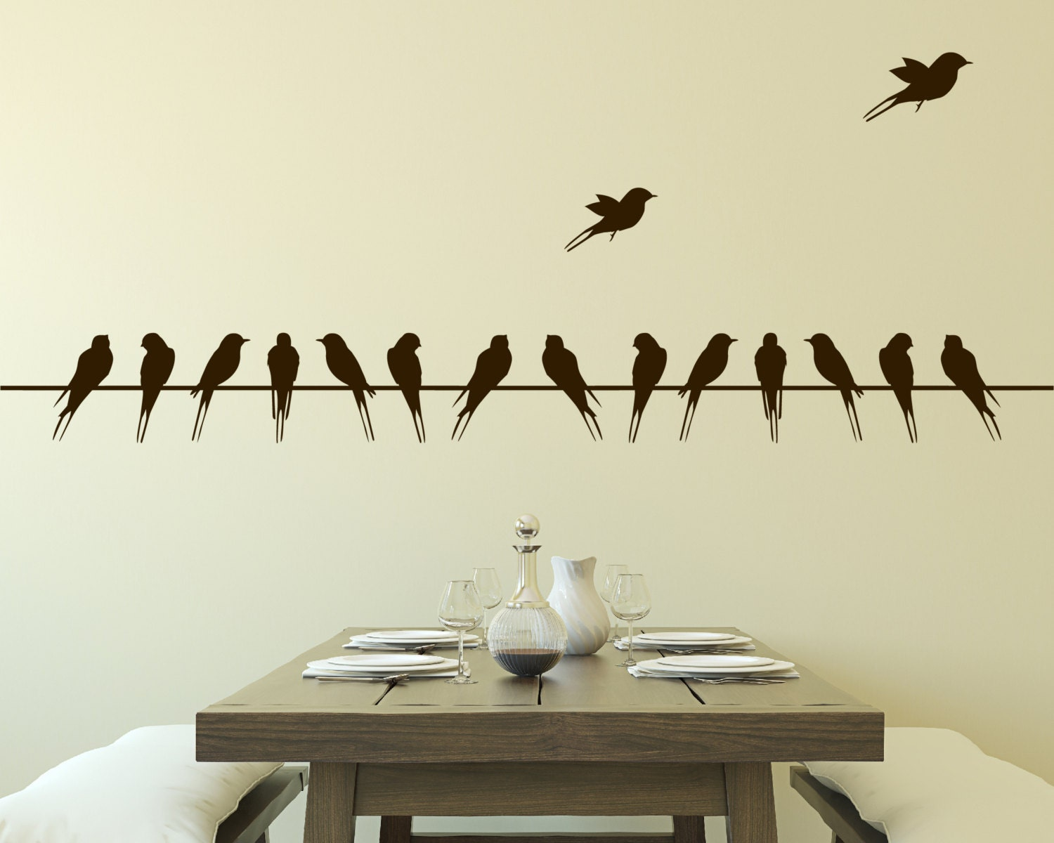 Wall decal birds on wire vinyl wall decal for Salle de bain design avec décoration murale stickers muraux autocollants
