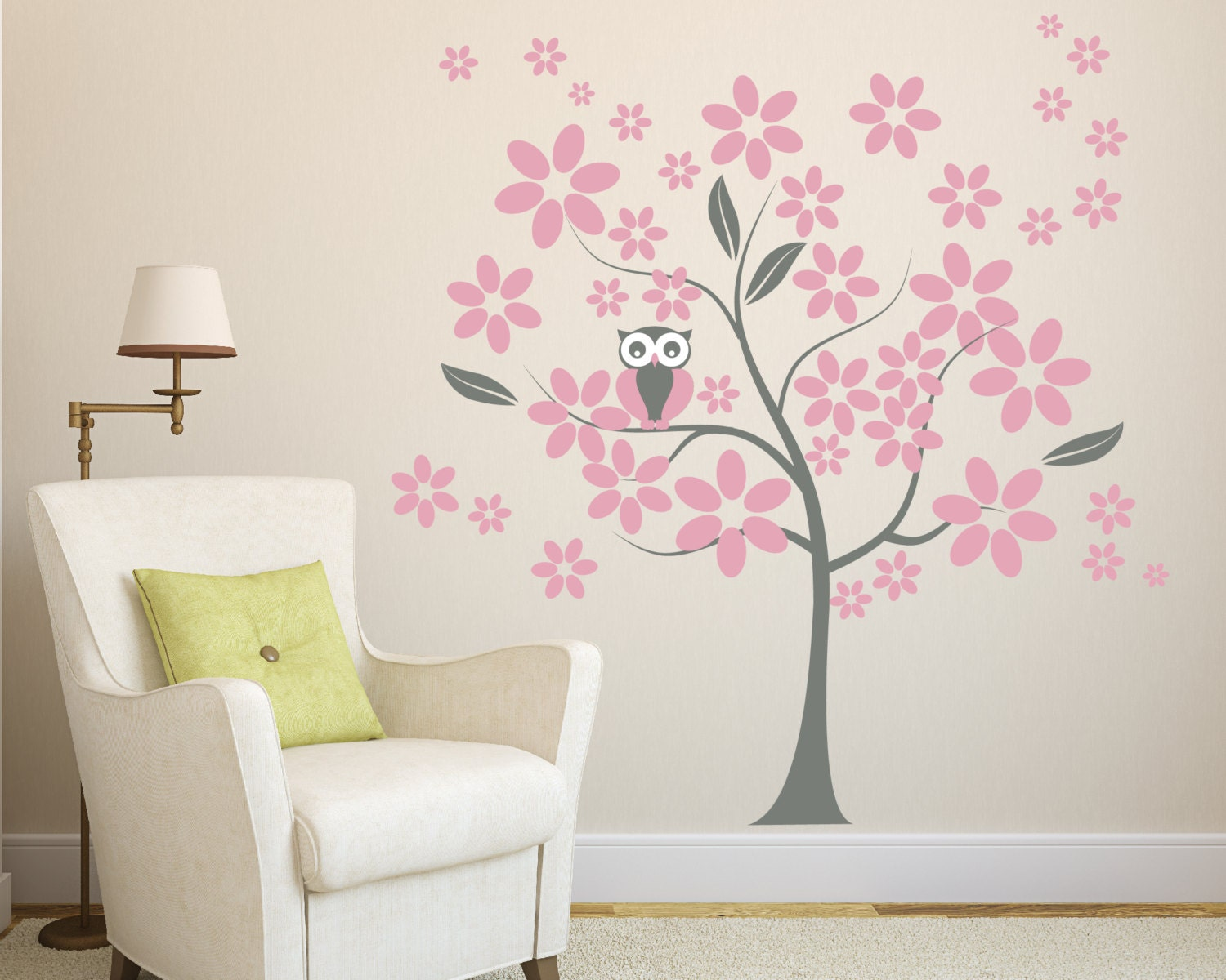 wall decals flowers tree with owl wall decal. Black Bedroom Furniture Sets. Home Design Ideas