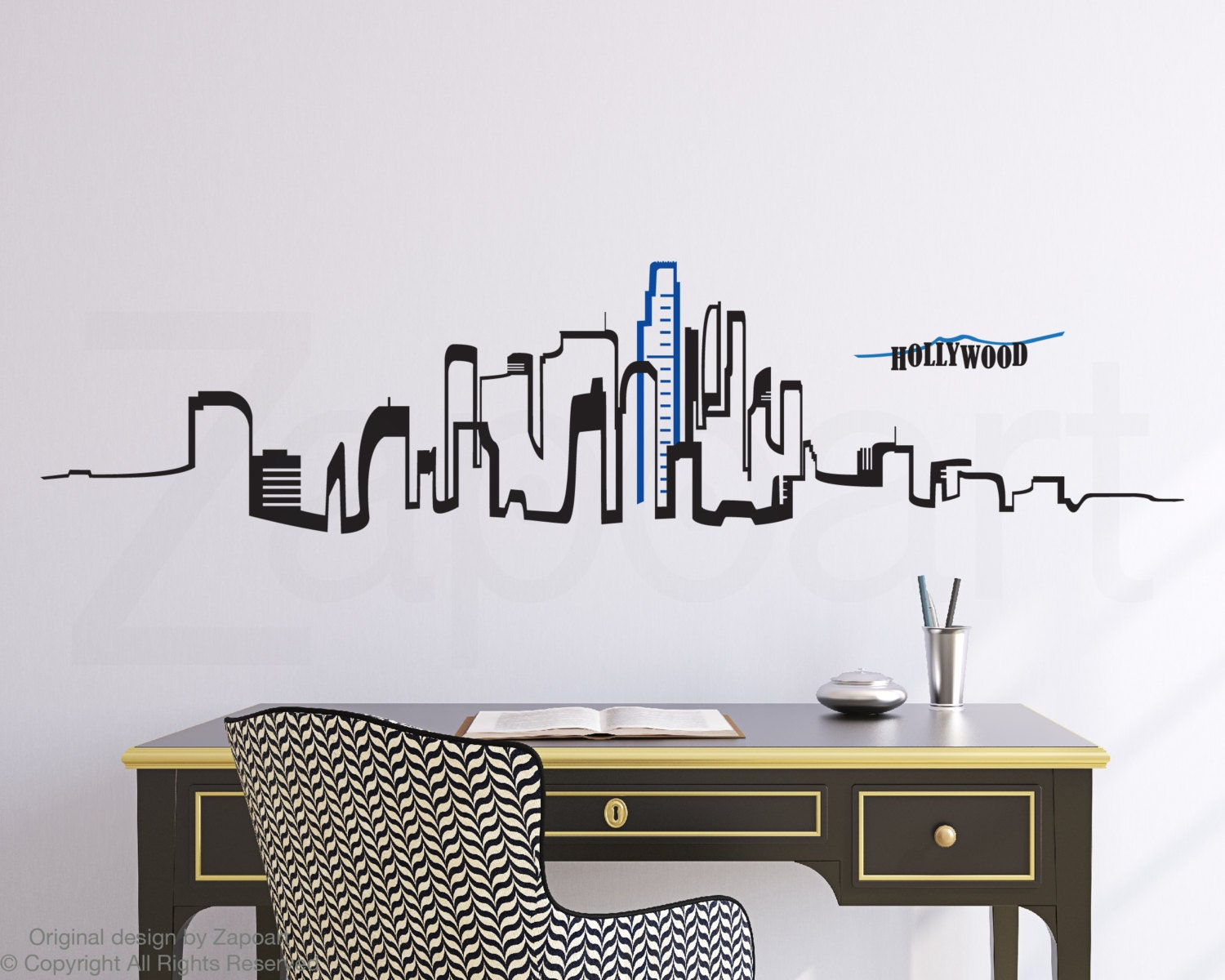 Los Angeles Skyline Wall Vinyl Decal By Zapoart On Etsy