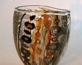 small amber and black murini flat vase