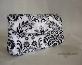 Bridesmaid - Wedding Clutch - Black Damask on White Set of 4