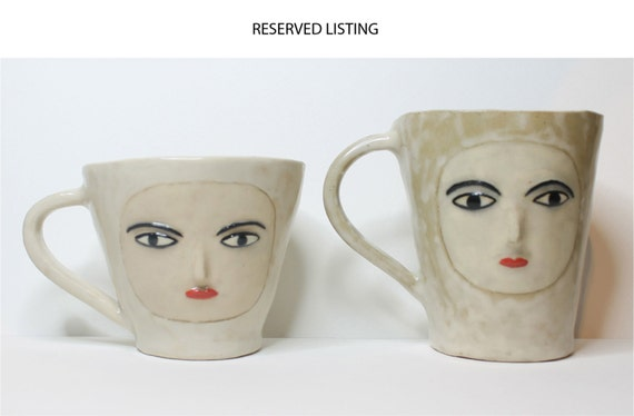 Reserved listing for Wendy-  Wonky Moody Cups - Two handmade Ceramic cups
