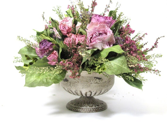 French country dried floral arrangement flowers