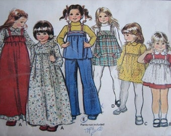 McCall's Pattern 5786 Toddlers' And Children's Dress And Jumper Or Pinafore 1977  Uncut