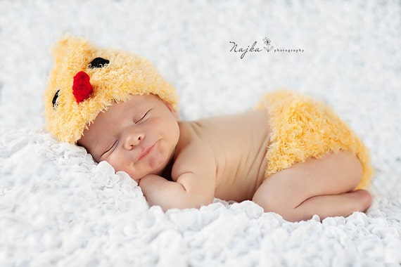 Little Chick Set Beanie and Diaper cover Baby Newborn Crochet Photography Prop