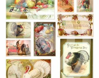 Vintage Thanksgiving Images, clipart, clip art, turkey, feast, pilgrims --8.5 by 11--Digital Collage Sheet  36