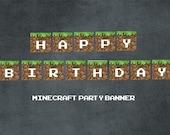 Printable MINECRAFT Party Banner Happy BIrthday