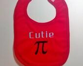 Cutie Pi embroidered baby bib