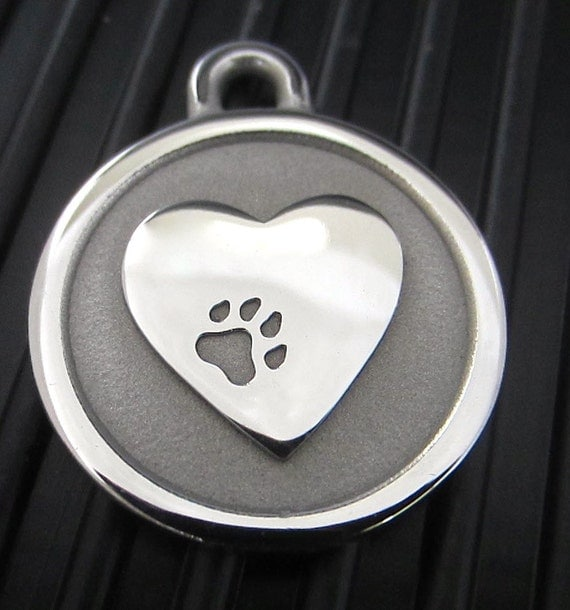 Medium Stainless Steel Silver Heart Pet ID Tag