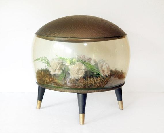 Mid century modern, Footstool, Ottoman, Inflatable Terrarium, Kitsch, carnations, ferns, Flowers, white, bronze, Green, uncommon vintage fun