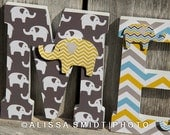 Elephant Nursery Letters, Custom Wooden Letters, Custom Letters, Baby Boy (yellow, blue, grey gray, elephant, jungle safari) 7 Inch Standing