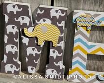 Elephant Nursery Letters, Custom Wooden Letters, Custom Letters, Baby Boy (yellow, blue, grey gray, elephant, jungle safari) 7 Inch Standing