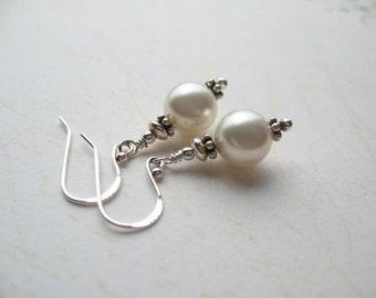 White Swarovski Earrings, White Swarovski Pearl Earrings, Wedding Earrings, Swedish Jewelry Design, Made in Sweden