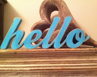Free-standing Wooden Letters - hello - New Script - Hand-painted - 10cm