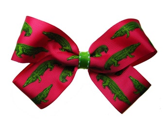 Large Hot Pink and Lime Alligator Hair Bow