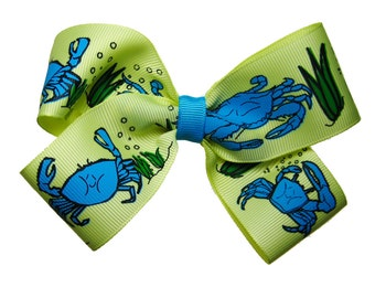 Large Blue Crab Beachy Vacation Hair Bow