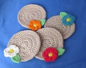 Set of four Crochet Coasters with Flowers.  Great gift for a someone special. Valentines Day Gift.