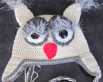 Crochet Big Eyes Owl Ear flap Hat with Braided Tails