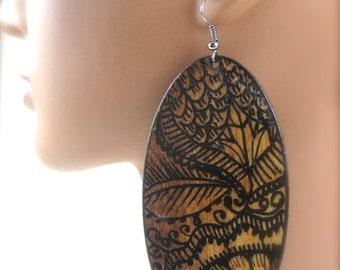 Dark Wooden Oak Oval Mehndi Earrings