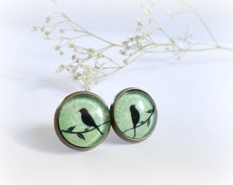 Little black birds - post earrings mint green and black crow studs glass cabochon Choose your earwire Woodland jewelry Gift for her