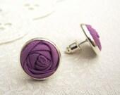 Phlox Purple Fabric Flower Earrings - Simple Silver Post Earrings