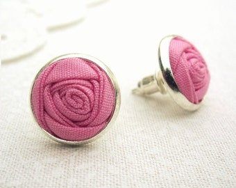 Fabric Flower Earrings in Blossom Pink - Silver Post and Dangle Earrings - Bridesmaids