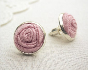 Pastel Pink Rose Earrings - Fabric Flower Silver Stud Earrings in Blush Pink - Bridesmaid Gift
