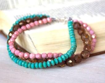Beaded Bracelet - Multiple Strands - pink - turquoise - dark topaz