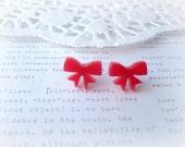 Red Lasercut Bow Stud Earrings