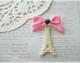 ON SALE  Cream Eiffel Tower Brooch with Pink Ribbon