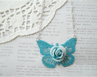 Blue Butterfly with Blue & White Flower Necklace
