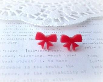 ON SALE  Red Lasercut Bow Stud Earrings