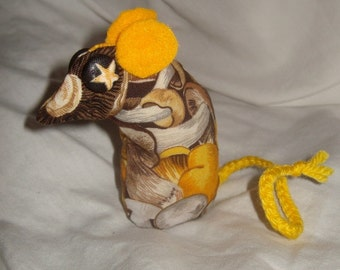 minature mouse art doll ooak beanbag yellow, gold, cream, tan, brown gray, mushroom print weight hand sewn