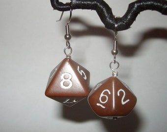 Vintage gaming dice upcycled toy earrings recycled kitsch kawaii chocolate brown