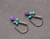 Pink Sapphire Earrings, Turquoise and Gold
