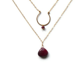 Double Strand Ruby Necklace, Natural Organic Rubies, 14k hammered gold open circle