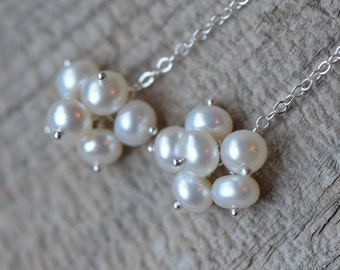 Freshwater Pearl Earrings, White Ivory Pearl Cluster, Long Dangle, Sterling Silver Chain