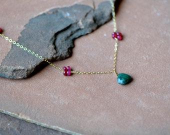 Gemstone Necklace, Natural Rubies and Emeralds, Delicate Gold Chain, Mixed Gemstones, Rosettes Emerald Pendant