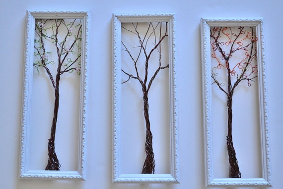 Framed Wall Art or Jewelry Organizer Holder Wire Tree with Spring , Winter and Fall Leaves -Useful Wire Art