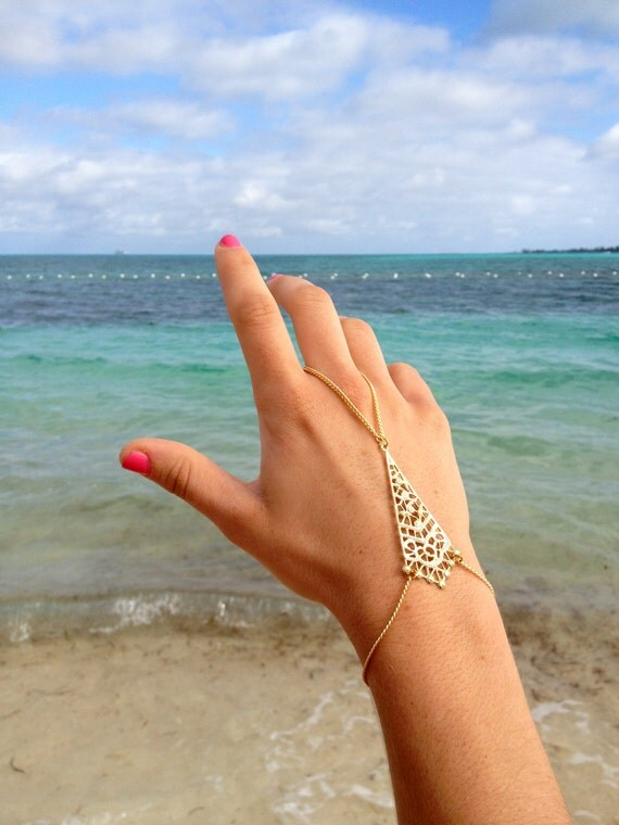 14k Gold Pyramid Hand Chain, Ring Bracelet Slave Bracelet