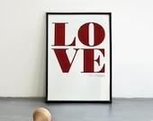 Love (or change). Valentines day. Marsala screenprint 8.3 x 11.7 (A4)