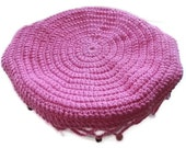CLEARANCE SALE!! Crochet Beaded Jug/Bowl Cover in Pink Cotton. Picnics, Alfresco, Summer, Outdoors. BBQ, Food Cover.